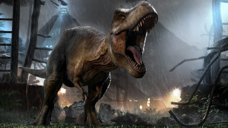 T-Rex Jurassic World tralies gebroken jeep